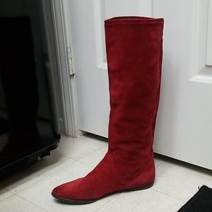 CHARLES JOURDAN suede knee boots red nubuck